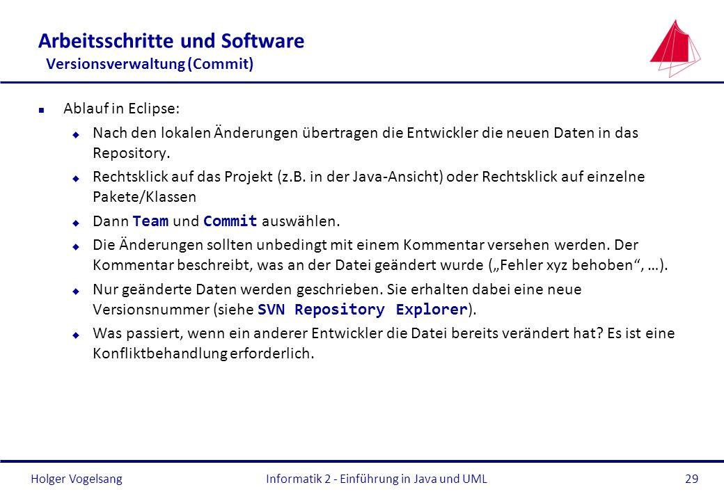 Holger Vogelsang Arbeitsschritte und Software Versionsverwaltung (Commit) n Ablauf in Eclipse: u Nach den lokalen Änderungen übertragen die Entwickler