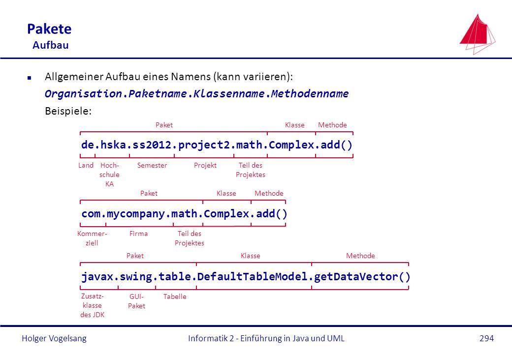 Holger VogelsangInformatik 2 - Einführung in Java und UML294 Pakete Aufbau n Allgemeiner Aufbau eines Namens (kann variieren): Organisation.Paketname.