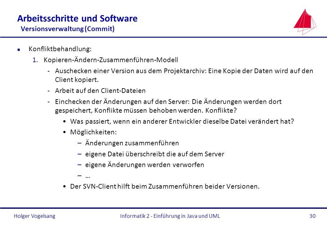 Holger Vogelsang Arbeitsschritte und Software Versionsverwaltung (Commit) n Konfliktbehandlung: 1.Kopieren-Ändern-Zusammenführen-Modell -Auschecken ei