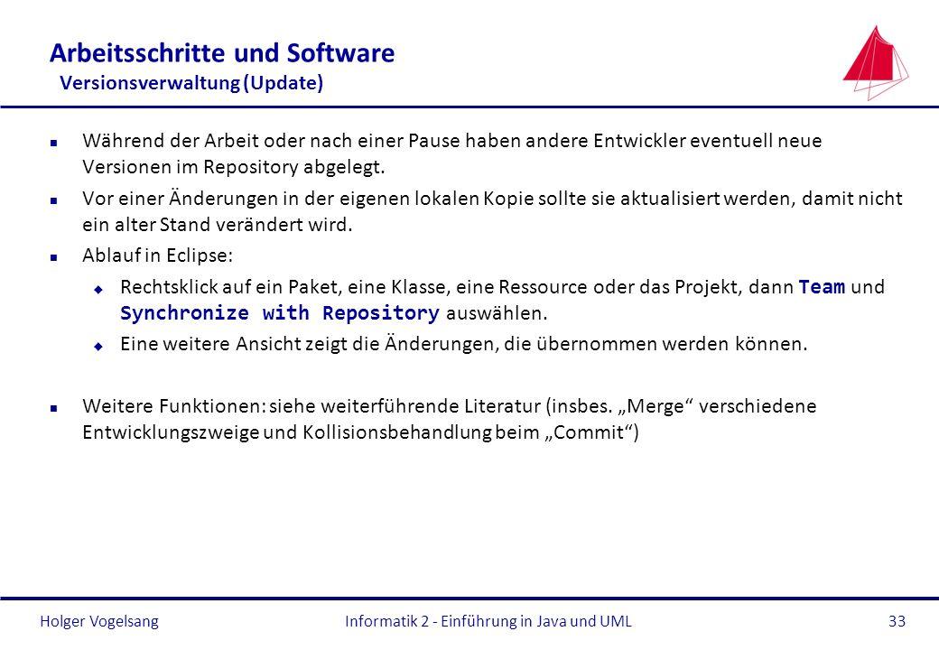 Holger Vogelsang Arbeitsschritte und Software Versionsverwaltung (Update) n Während der Arbeit oder nach einer Pause haben andere Entwickler eventuell
