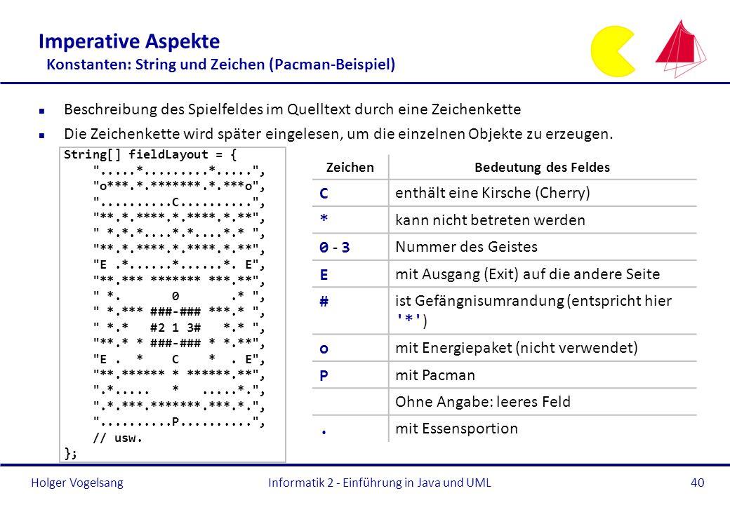 Holger Vogelsang Imperative Aspekte Konstanten: String und Zeichen (Pacman-Beispiel) n Beschreibung des Spielfeldes im Quelltext durch eine Zeichenket