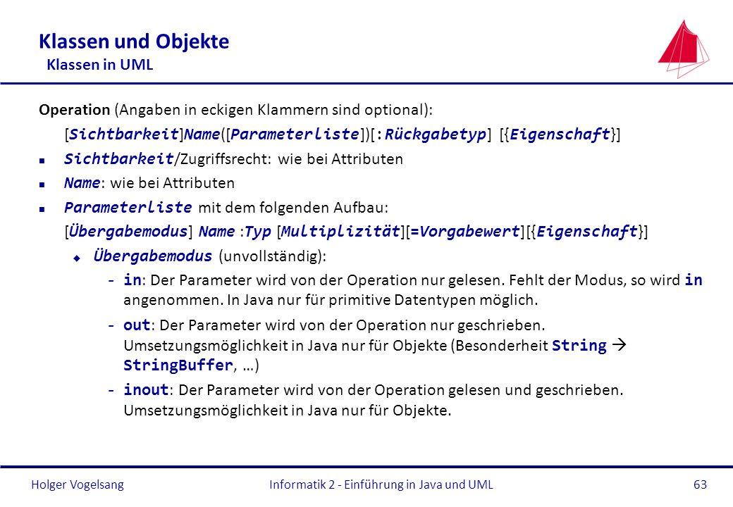 Holger Vogelsang Klassen und Objekte Klassen in UML Operation (Angaben in eckigen Klammern sind optional): [ Sichtbarkeit ] Name ([ Parameterliste ])[