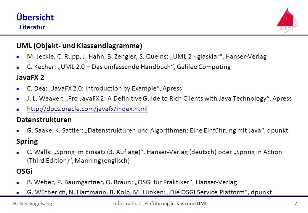 Holger VogelsangInformatik 2 - Einführung in Java und UML7 Übersicht Literatur UML (Objekt- und Klassendiagramme) n M. Jeckle, C. Rupp, J. Hahn, B. Ze