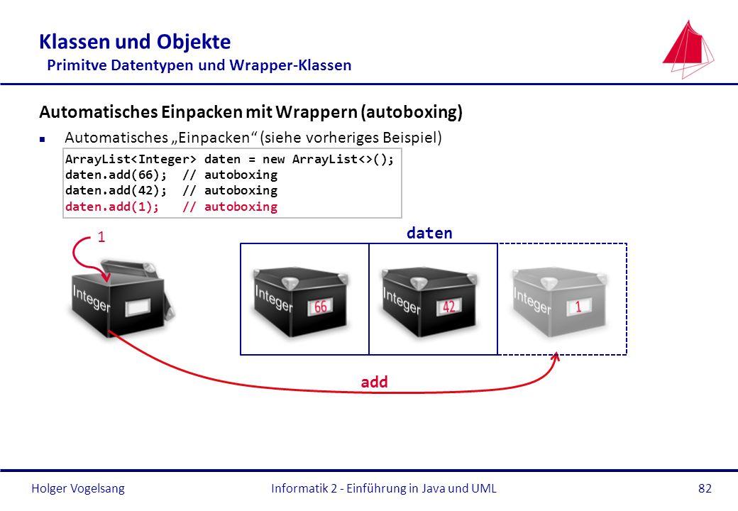 Holger VogelsangInformatik 2 - Einführung in Java und UML82 Klassen und Objekte Primitve Datentypen und Wrapper-Klassen Automatisches Einpacken mit Wr