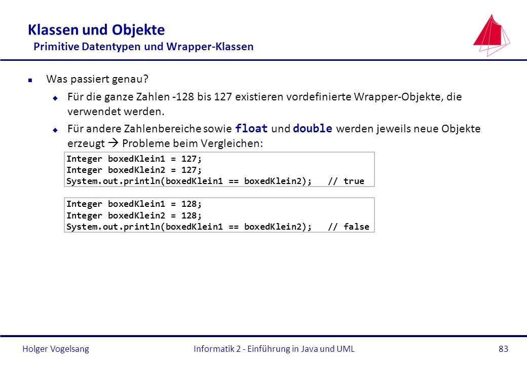 Holger VogelsangInformatik 2 - Einführung in Java und UML83 Klassen und Objekte Primitive Datentypen und Wrapper-Klassen n Was passiert genau? u Für d