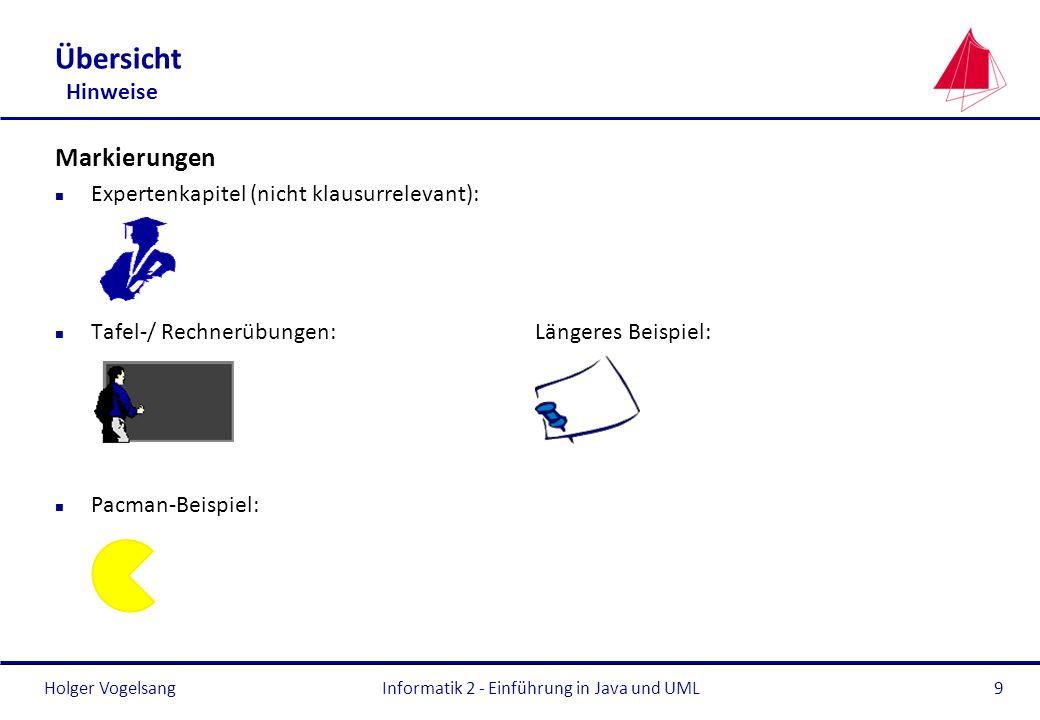 Holger VogelsangInformatik 2 - Einführung in Java und UML9 Übersicht Hinweise Markierungen n Expertenkapitel (nicht klausurrelevant): n Tafel-/ Rechne