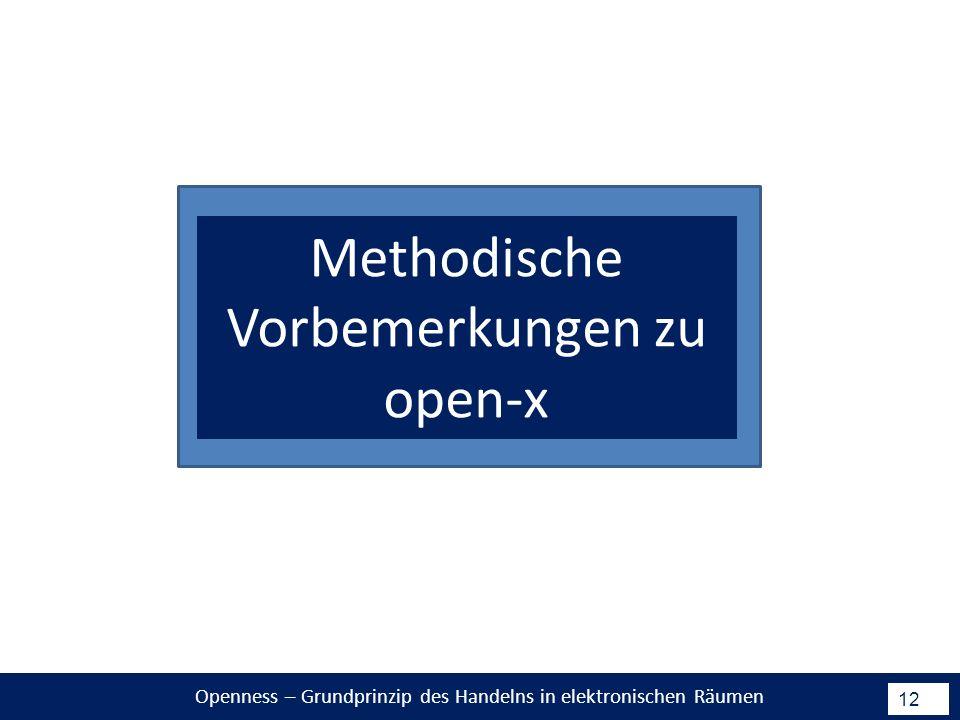 Openness – Grundprinzip des Handelns in elektronischen Räumen 12 Methodische Vorbemerkungen zu open-x