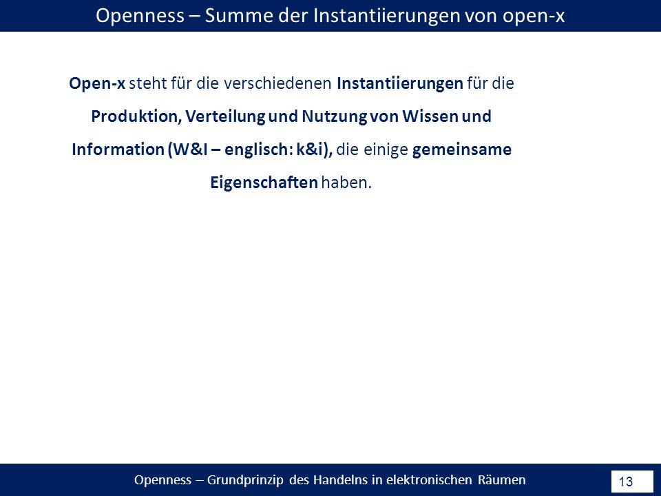 Openness – Grundprinzip des Handelns in elektronischen Räumen 13 Open-x steht für die verschiedenen Instantiierungen für die Produktion, Verteilung und Nutzung von Wissen und Information (W&I – englisch: k&i), die einige gemeinsame Eigenschaften haben.