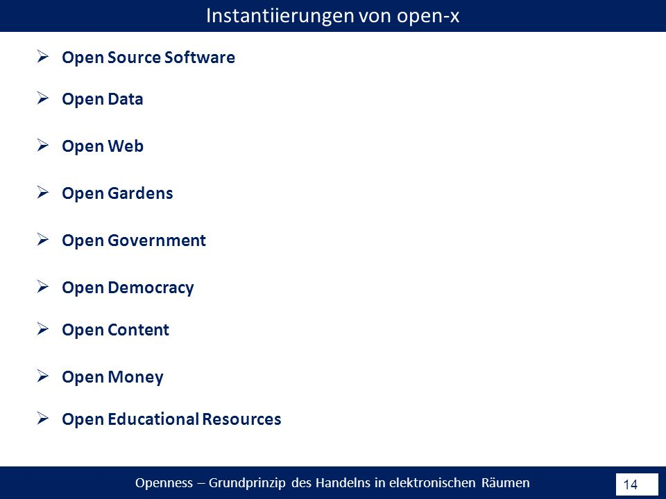 Openness – Grundprinzip des Handelns in elektronischen Räumen 14 Open Source Software Instantiierungen von open-x Open Data Open Web Open Gardens Open Government Open Democracy Open Content Open Money Open Educational Resources
