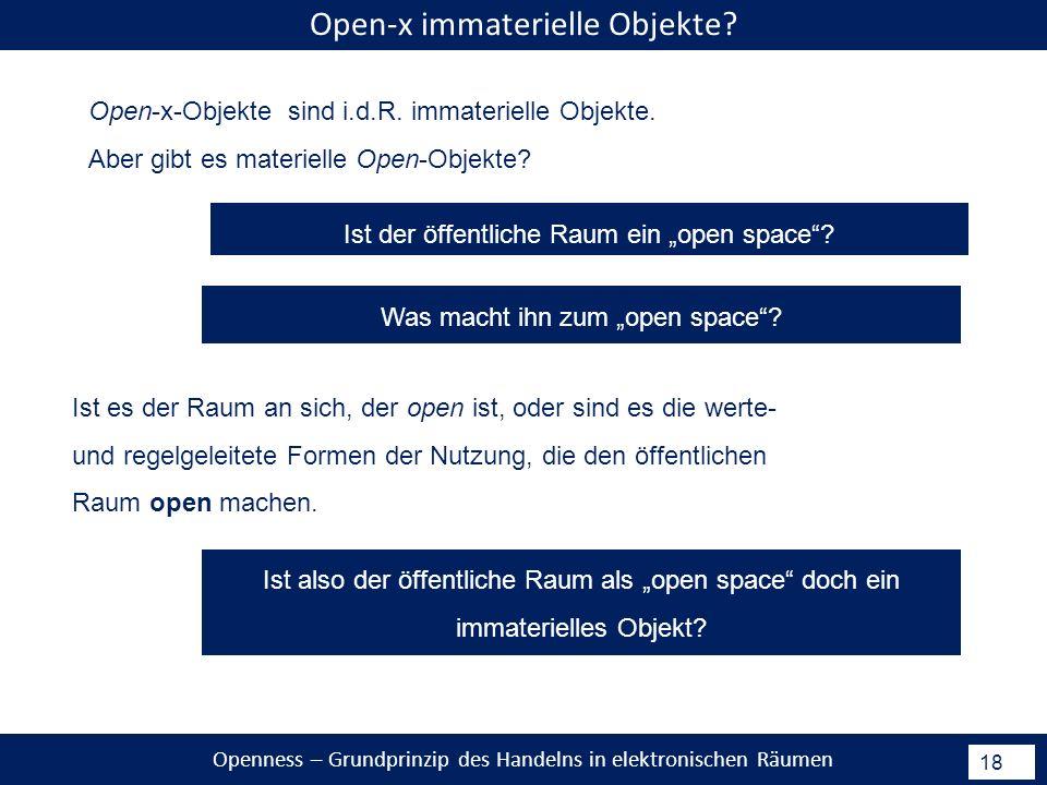 Openness – Grundprinzip des Handelns in elektronischen Räumen 18 Open-x immaterielle Objekte.