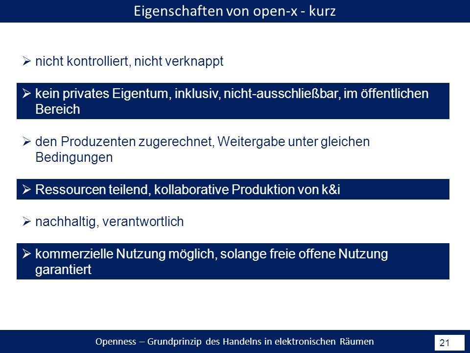 Openness – Grundprinzip des Handelns in elektronischen Räumen 21 Eigenschaften von open-x - kurz nicht kontrolliert, nicht verknappt kein privates Eigentum, inklusiv, nicht-ausschließbar, im öffentlichen Bereich den Produzenten zugerechnet, Weitergabe unter gleichen Bedingungen Ressourcen teilend, kollaborative Produktion von k&i nachhaltig, verantwortlich kommerzielle Nutzung möglich, solange freie offene Nutzung garantiert