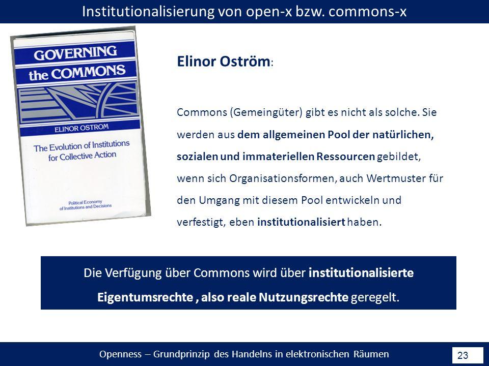 Openness – Grundprinzip des Handelns in elektronischen Räumen 23 Institutionalisierung von open-x bzw.