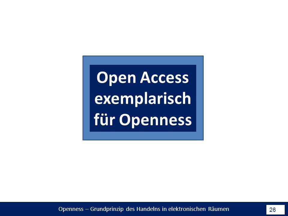 Openness – Grundprinzip des Handelns in elektronischen Räumen 26 Open Access exemplarisch für Openness