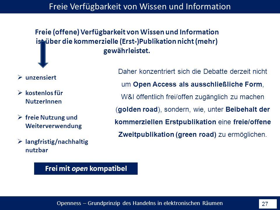 Openness – Grundprinzip des Handelns in elektronischen Räumen 27 Freie (offene) Verfügbarkeit von Wissen und Information ist über die kommerzielle (Erst-)Publikation nicht (mehr) gewährleistet.
