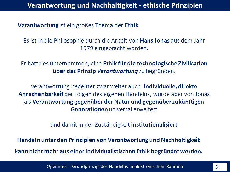 Openness – Grundprinzip des Handelns in elektronischen Räumen 31 Verantwortung und Nachhaltigkeit - ethische Prinzipien Verantwortung ist ein großes Thema der Ethik.