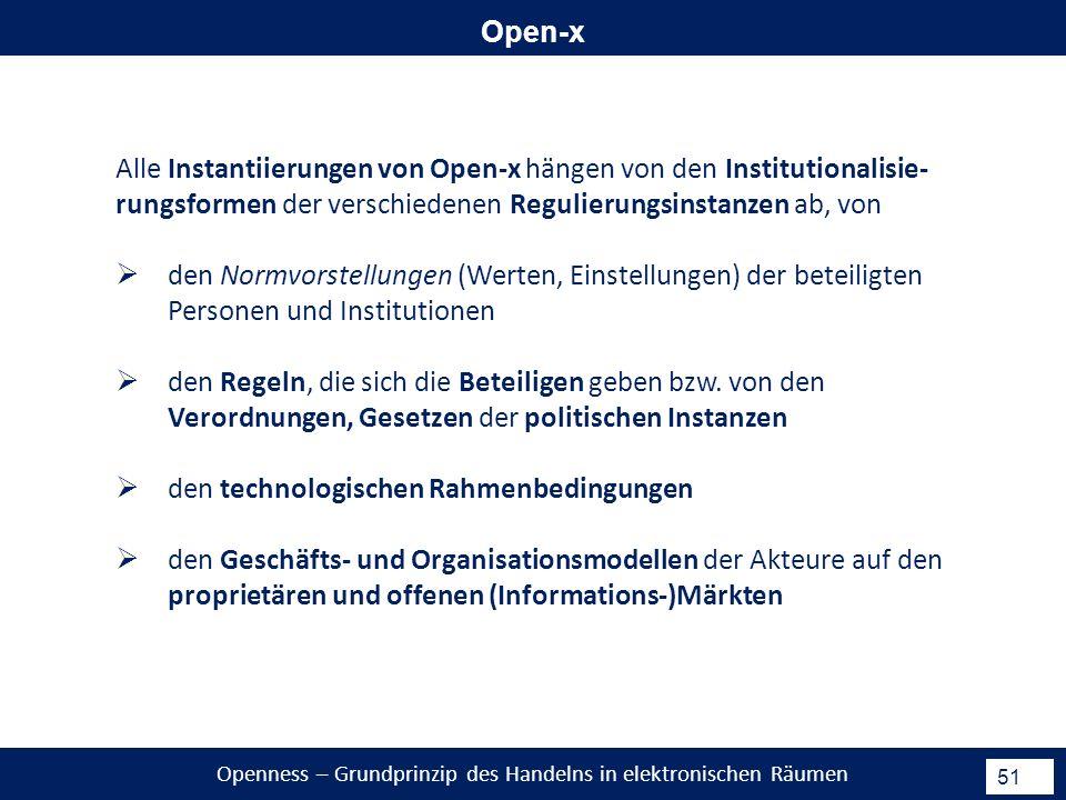 Openness – Grundprinzip des Handelns in elektronischen Räumen 51 Open-x Alle Instantiierungen von Open-x hängen von den Institutionalisie- rungsformen der verschiedenen Regulierungsinstanzen ab, von den Normvorstellungen (Werten, Einstellungen) der beteiligten Personen und Institutionen den Regeln, die sich die Beteiligen geben bzw.