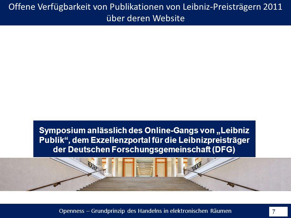 7 Offene Verfügbarkeit von Publikationen von Leibniz-Preisträgern 2011 über deren Website Symposium anlässlich des Online-Gangs von Leibniz Publik, dem Exzellenzportal für die Leibnizpreisträger der Deutschen Forschungsgemeinschaft (DFG)