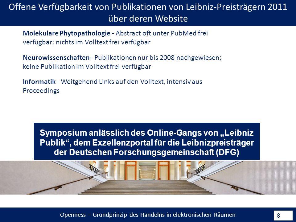 Openness – Grundprinzip des Handelns in elektronischen Räumen 8 Neurowissenschaften - Publikationen nur bis 2008 nachgewiesen; keine Publikation im Volltext frei verfügbar Informatik - Weitgehend Links auf den Volltext, intensiv aus Proceedings Molekulare Phytopathologie - Abstract oft unter PubMed frei verfügbar; nichts im Volltext frei verfügbar Offene Verfügbarkeit von Publikationen von Leibniz-Preisträgern 2011 über deren Website Symposium anlässlich des Online-Gangs von Leibniz Publik, dem Exzellenzportal für die Leibnizpreisträger der Deutschen Forschungsgemeinschaft (DFG)