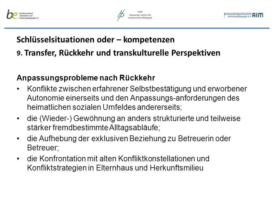 Schlüsselsituationen oder – kompetenzen 9. Transfer, Rückkehr und transkulturelle Perspektiven Anpassungsprobleme nach Rückkehr Konflikte zwischen erf