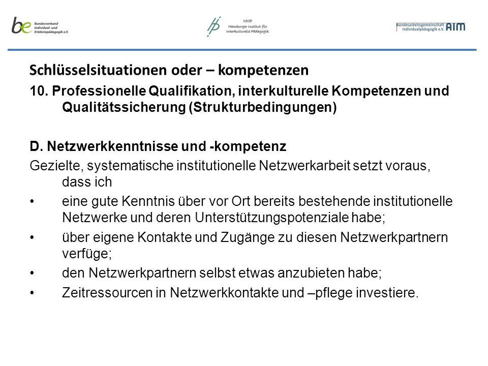 Schlüsselsituationen oder – kompetenzen 10. Professionelle Qualifikation, interkulturelle Kompetenzen und Qualitätssicherung (Strukturbedingungen) D.