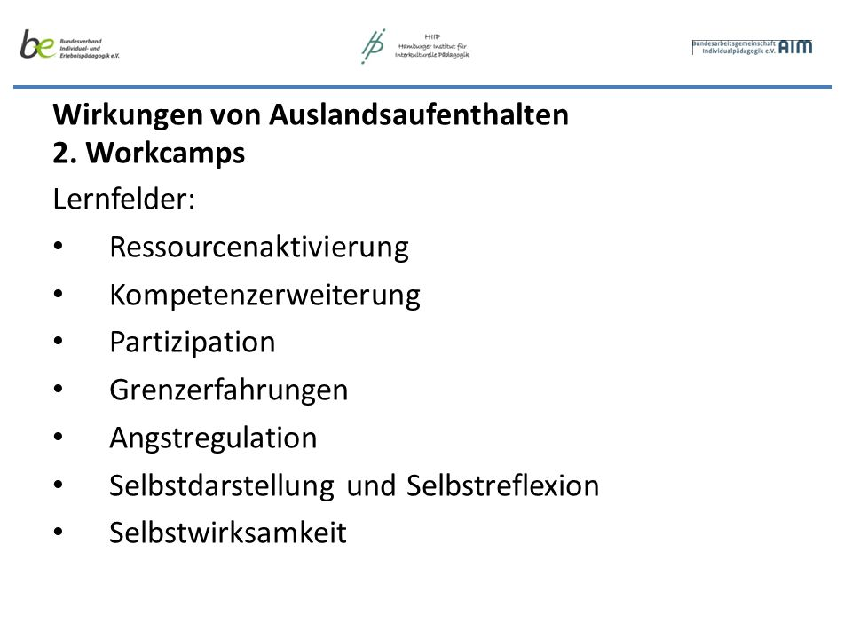 Wirkungen von Auslandsaufenthalten 3.