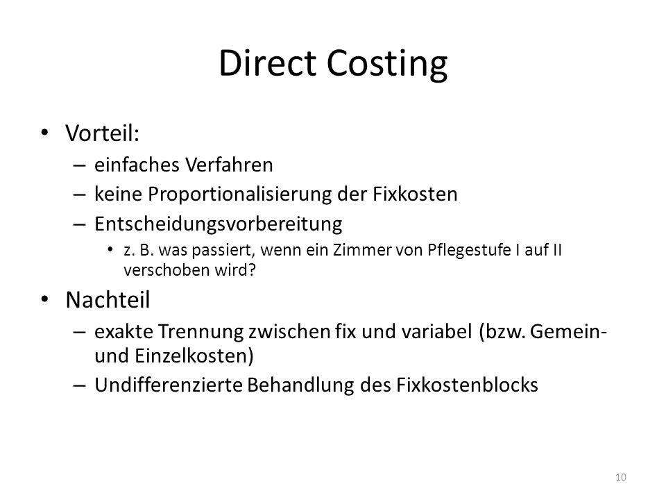 Direct Costing Vorteil: – einfaches Verfahren – keine Proportionalisierung der Fixkosten – Entscheidungsvorbereitung z. B. was passiert, wenn ein Zimm