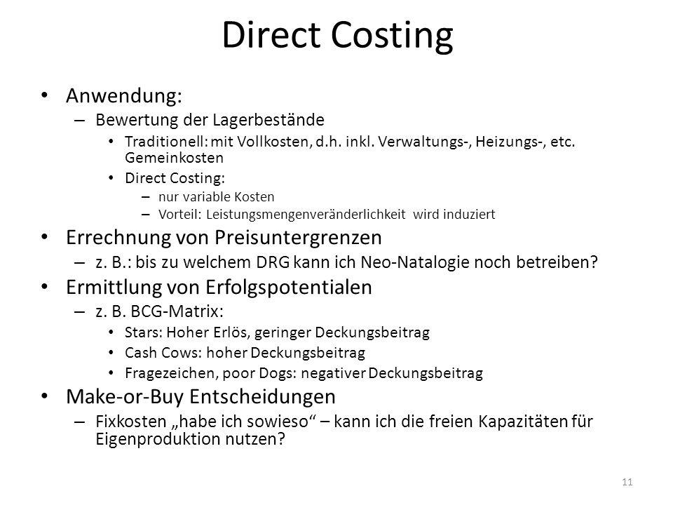 Direct Costing Anwendung: – Bewertung der Lagerbestände Traditionell: mit Vollkosten, d.h. inkl. Verwaltungs-, Heizungs-, etc. Gemeinkosten Direct Cos