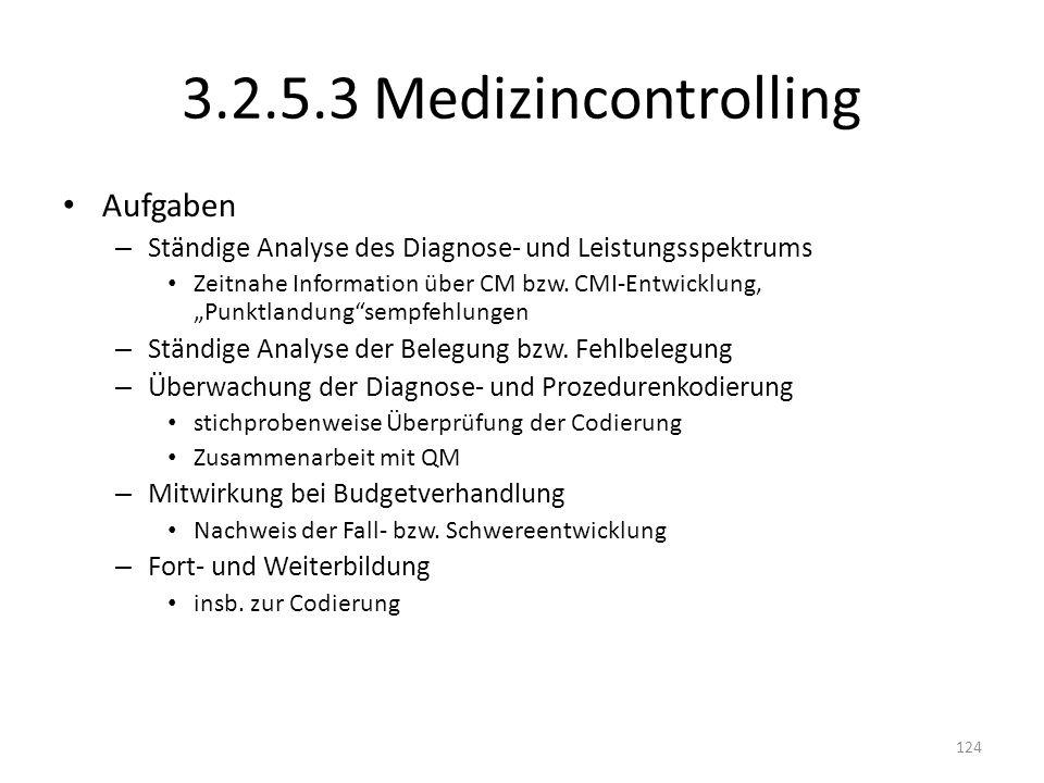 3.2.5.3 Medizincontrolling Aufgaben – Ständige Analyse des Diagnose- und Leistungsspektrums Zeitnahe Information über CM bzw. CMI-Entwicklung, Punktla