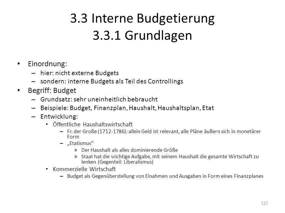 3.3 Interne Budgetierung 3.3.1 Grundlagen Einordnung: – hier: nicht externe Budgets – sondern: interne Budgets als Teil des Controllings Begriff: Budg