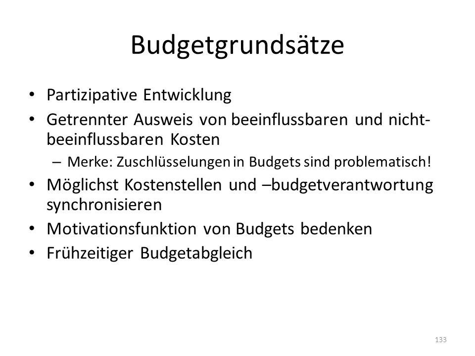 Budgetgrundsätze Partizipative Entwicklung Getrennter Ausweis von beeinflussbaren und nicht- beeinflussbaren Kosten – Merke: Zuschlüsselungen in Budge
