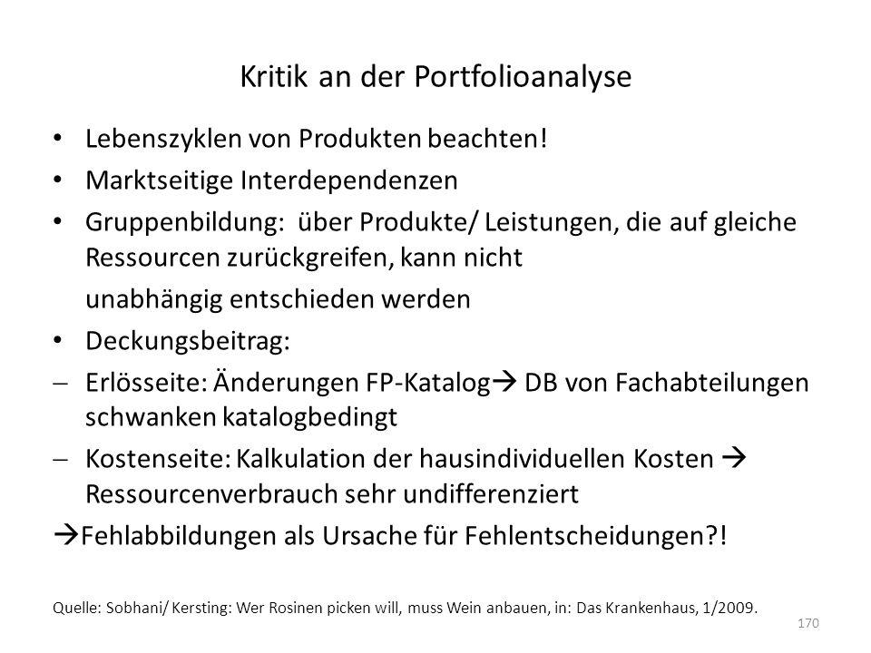 Kritik an der Portfolioanalyse Lebenszyklen von Produkten beachten! Marktseitige Interdependenzen Gruppenbildung: über Produkte/ Leistungen, die auf g