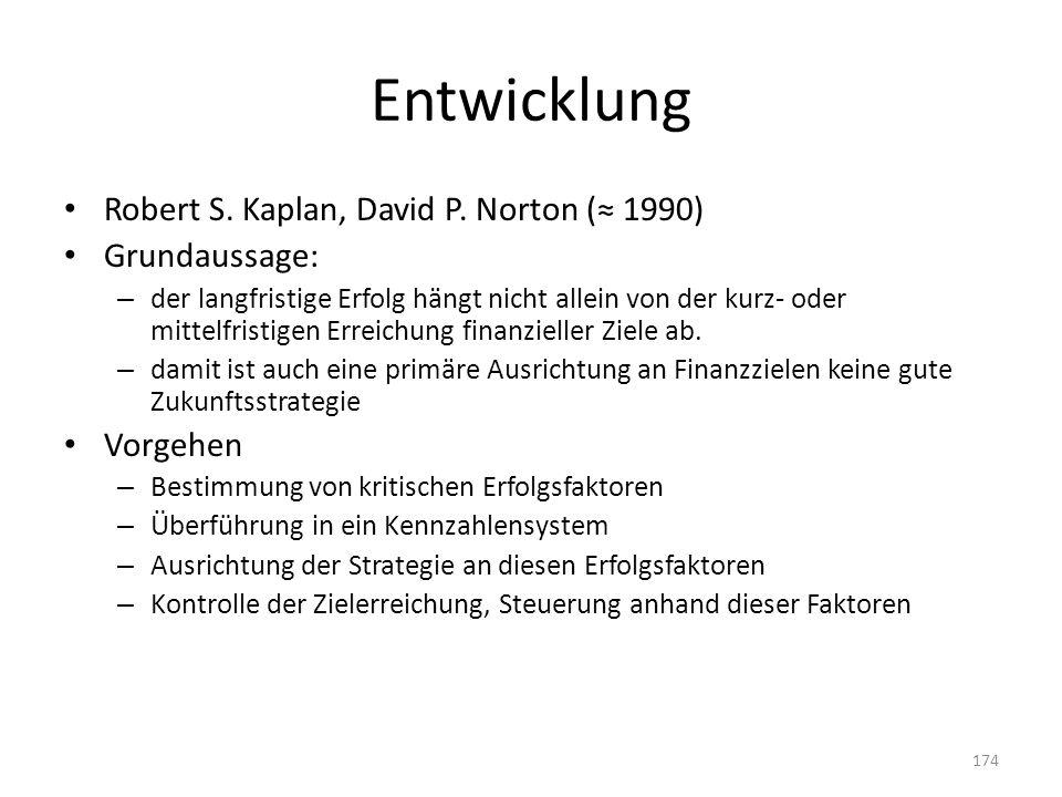 Entwicklung Robert S. Kaplan, David P. Norton ( 1990) Grundaussage: – der langfristige Erfolg hängt nicht allein von der kurz- oder mittelfristigen Er