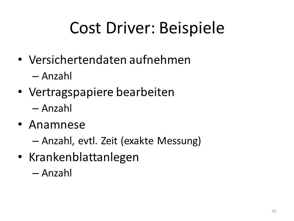 Cost Driver: Beispiele Versichertendaten aufnehmen – Anzahl Vertragspapiere bearbeiten – Anzahl Anamnese – Anzahl, evtl. Zeit (exakte Messung) Kranken