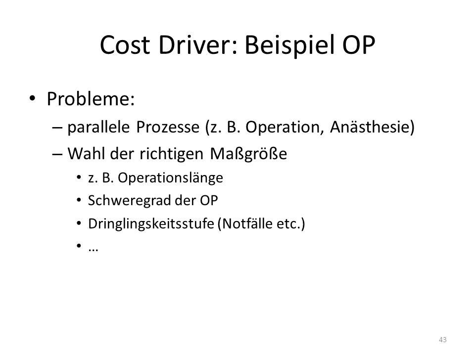 Cost Driver: Beispiel OP Probleme: – parallele Prozesse (z. B. Operation, Anästhesie) – Wahl der richtigen Maßgröße z. B. Operationslänge Schweregrad