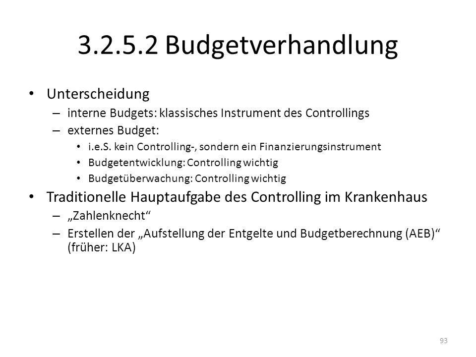 3.2.5.2 Budgetverhandlung Unterscheidung – interne Budgets: klassisches Instrument des Controllings – externes Budget: i.e.S. kein Controlling-, sonde