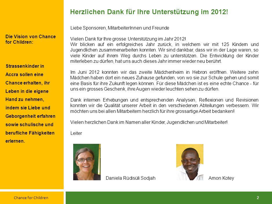 Chance for Children 22 Quelle: Chance for Children Buchhaltung Schweizer Franken 1.