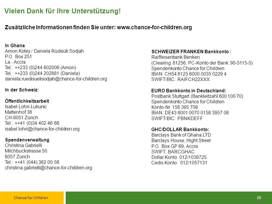 Chance for Children Revisionsbericht Schweiz 2012 Als Revisoren haben wir die Buchführung und die Jahresrechnung der Chance for Children für das am 31