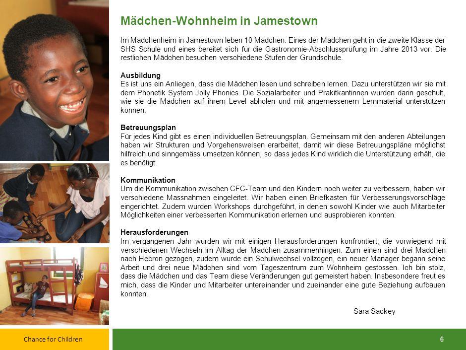 Chance for Children 5 Tageszentrum Im Laufe des letzten Jahres haben rund 154 Kinder unsere Leistungen im Tageszentrum in Anspruch genommen. 49 von ih