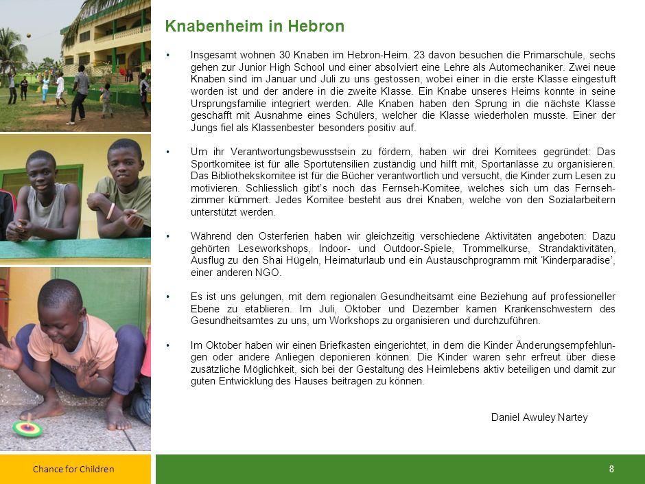 Chance for Children 7 Mädchenheim in Hebron Das Mädchenheim in Hebron begann das Jahr 2012 mit elf Mädchen und vier permanenten MitarbeiterInnen: Ein