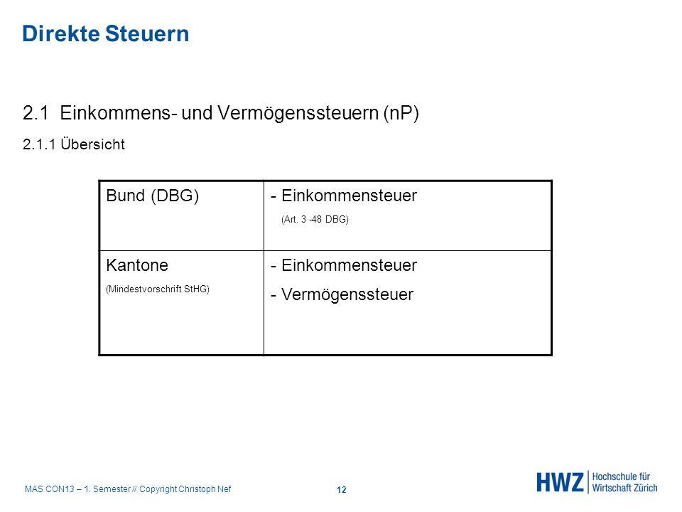MAS CON13 – 1. Semester // Copyright Christoph Nef 2.1 Einkommens- und Vermögenssteuern (nP) 2.1.1 Übersicht Bund (DBG) - Einkommensteuer (Art. 3 -48