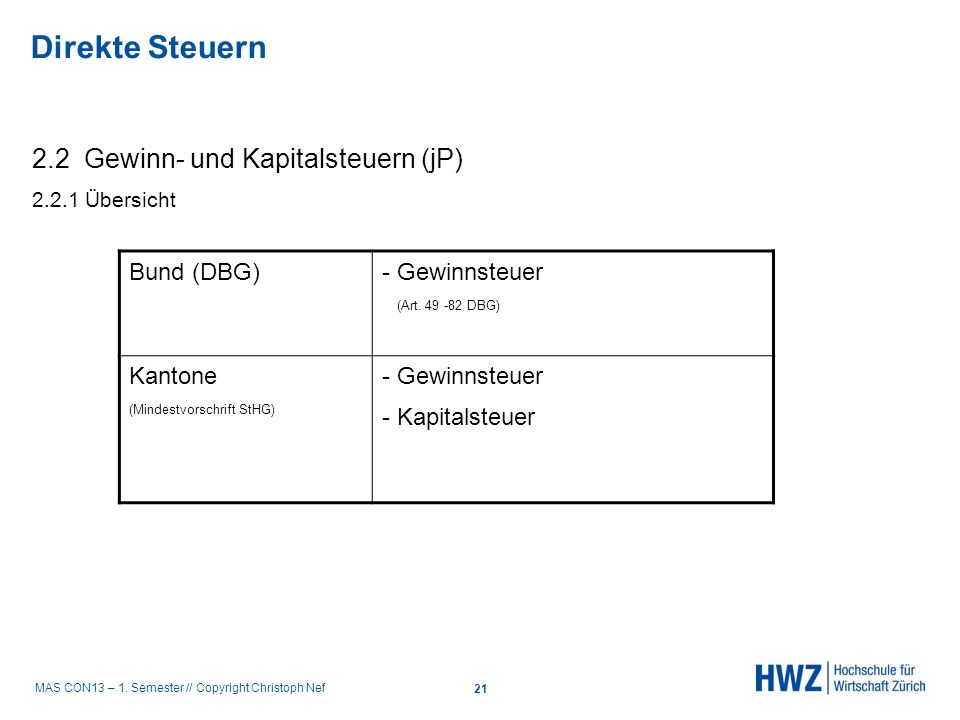 MAS CON13 – 1. Semester // Copyright Christoph Nef 2.2 Gewinn- und Kapitalsteuern (jP) 2.2.1 Übersicht Bund (DBG) - Gewinnsteuer (Art. 49 -82 DBG) Kan