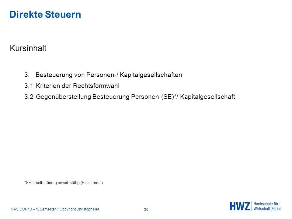MAS CON13 – 1. Semester // Copyright Christoph Nef Kursinhalt 3. Besteuerung von Personen-/ Kapitalgesellschaften 3.1Kriterien der Rechtsformwahl 3.2G