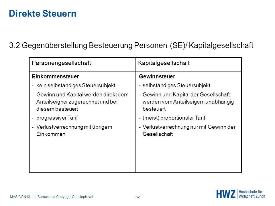 MAS CON13 – 1. Semester // Copyright Christoph Nef 3.2 Gegenüberstellung Besteuerung Personen-(SE)/ Kapitalgesellschaft PersonengesellschaftKapitalges