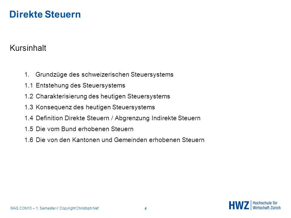 MAS CON13 – 1. Semester // Copyright Christoph Nef Kursinhalt 1. Grundzüge des schweizerischen Steuersystems 1.1Entstehung des Steuersystems 1.2Charak