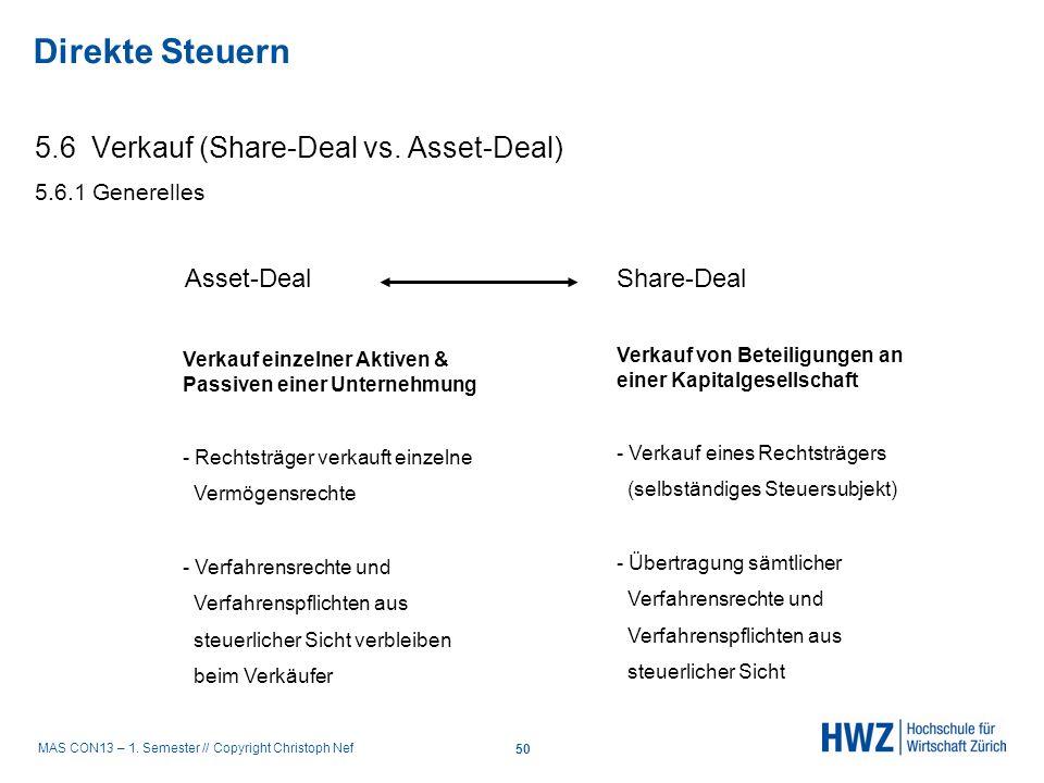 MAS CON13 – 1. Semester // Copyright Christoph Nef 5.6 Verkauf (Share-Deal vs. Asset-Deal) 5.6.1 Generelles Asset-Deal Share-Deal Verkauf einzelner Ak