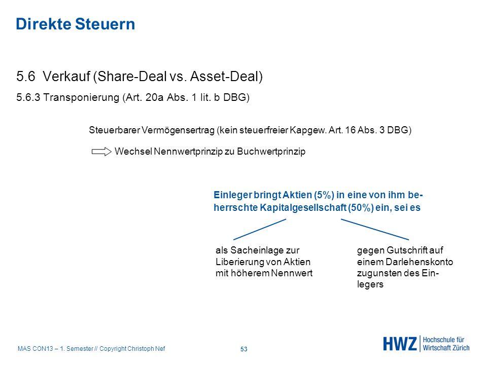 MAS CON13 – 1. Semester // Copyright Christoph Nef 5.6 Verkauf (Share-Deal vs. Asset-Deal) 5.6.3 Transponierung (Art. 20a Abs. 1 lit. b DBG) Steuerbar