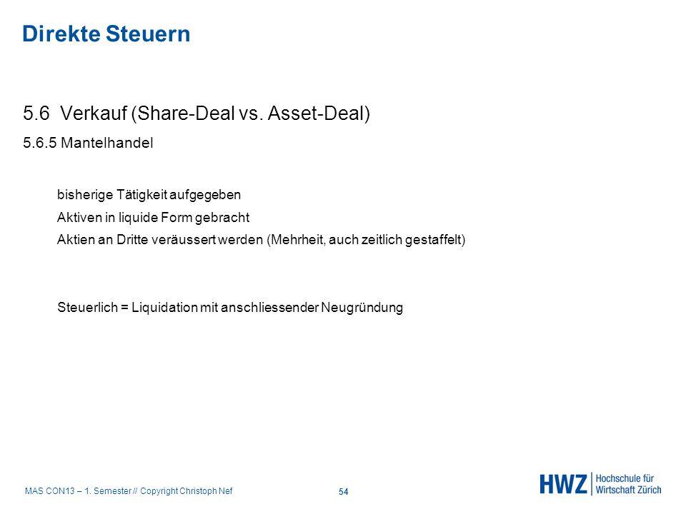MAS CON13 – 1. Semester // Copyright Christoph Nef 5.6 Verkauf (Share-Deal vs. Asset-Deal) 5.6.5 Mantelhandel bisherige Tätigkeit aufgegeben Aktiven i