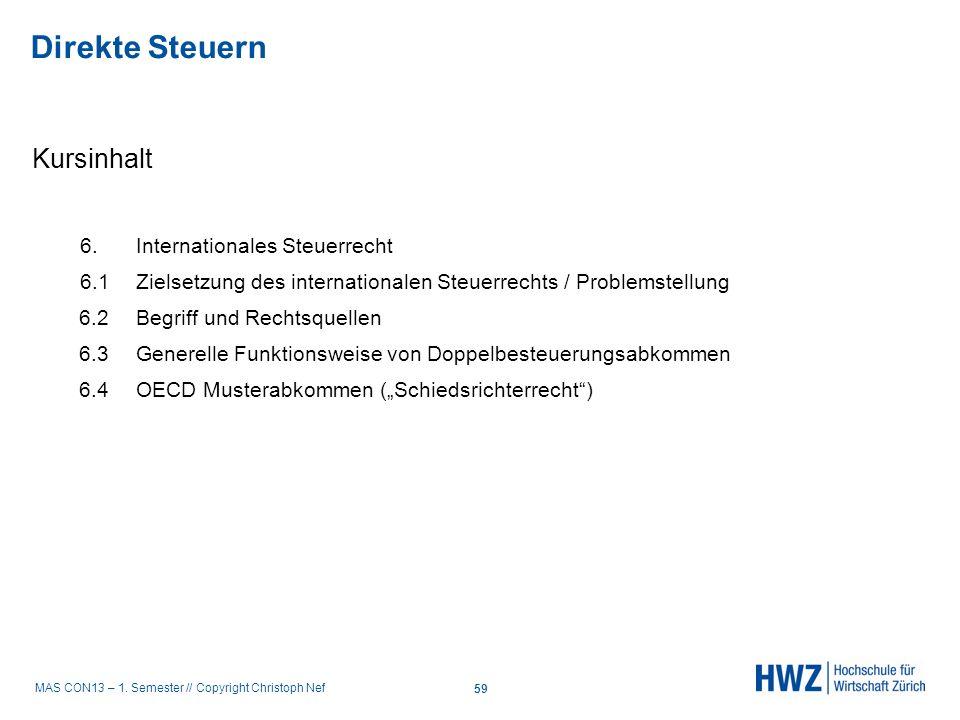 MAS CON13 – 1. Semester // Copyright Christoph Nef Kursinhalt 6.Internationales Steuerrecht 6.1 Zielsetzung des internationalen Steuerrechts / Problem