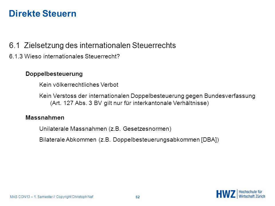 MAS CON13 – 1. Semester // Copyright Christoph Nef 6.1 Zielsetzung des internationalen Steuerrechts 6.1.3 Wieso internationales Steuerrecht? Direkte S