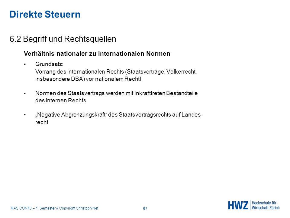 MAS CON13 – 1. Semester // Copyright Christoph Nef 6.2 Begriff und Rechtsquellen Direkte Steuern 67 Verhältnis nationaler zu internationalen Normen Gr